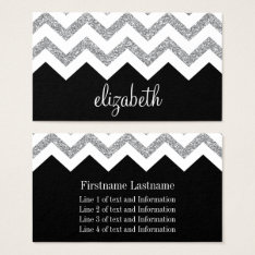 Black And Silver Glitter Print Chevron And Name Business Card at Zazzle
