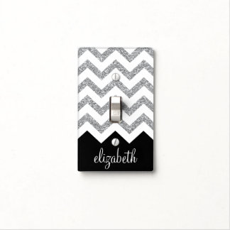 Black and Silver Glitter Print Chevron and Name Light Switch Cover