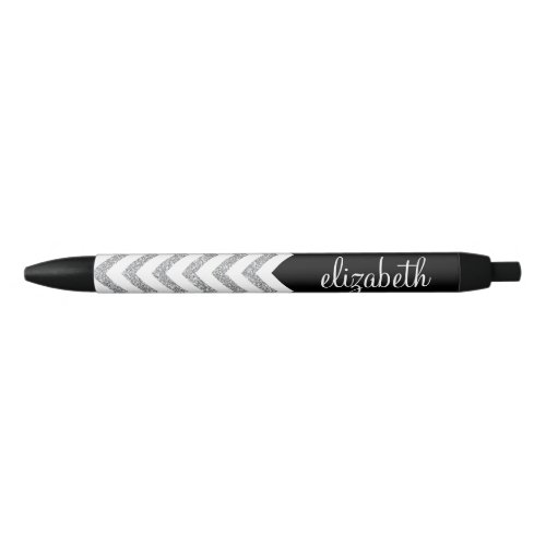 Black and Silver Glitter Print Chevrons and Name Black Ink Pen