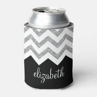 Black and Silver Glitter Print Chevrons and Name Can Cooler