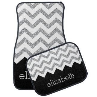 chevron car floor mats. black and silver glitter print chevrons name car floor mat chevron mats