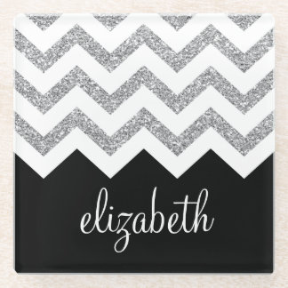 Black and Silver Glitter Print Chevrons and Name Glass Coaster