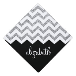 Black and Silver Glitter Print Chevrons and Name Graduation Cap Topper