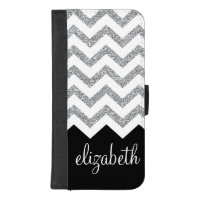 Black and Silver Glitter Print Chevrons and Name