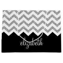 Black and Silver Glitter Print Chevrons and Name Large Gift Bag