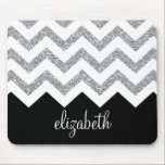 "Black and Silver Glitter Print Chevrons and Name Mouse Pad<br><div class=""desc"">NOT REAL GLITTER -- Just a print. A bold,  graphic design.</div>"