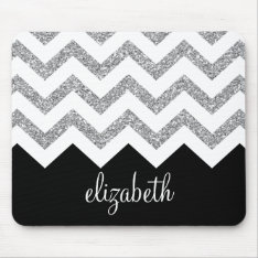 Black And Silver Glitter Print Chevrons And Name Mouse Pad at Zazzle