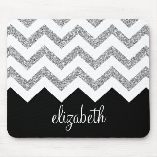 Black and Silver Glitter Print Chevrons and Name Mouse Pad