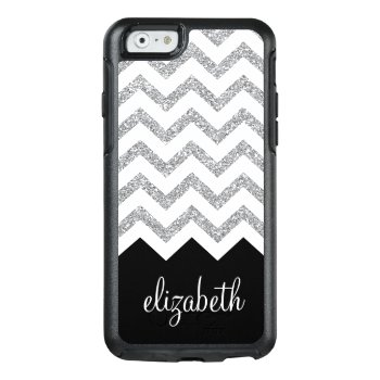 Black And Silver Glitter Print Chevrons And Name Otterbox Iphone 6/6s Case by icases at Zazzle