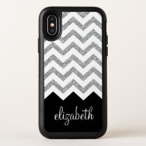 Black and Silver Glitter Print Chevrons and Name OtterBox iPhone XS Case