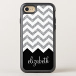 "Black and Silver Glitter Print Chevrons and Name OtterBox Symmetry iPhone 8/7 Case<br><div class=""desc"">NOT REAL GLITTER -- Just a print. A bold,  graphic design.</div>"