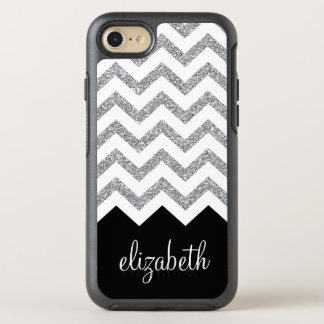 Black and Silver Glitter Print Chevrons and Name OtterBox Symmetry iPhone 8/7 Case