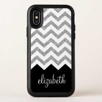 Black and Silver Glitter Print Chevrons and Name OtterBox Symmetry iPhone XS Case