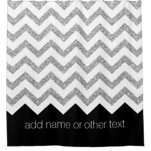 Black And Silver Glitter Print Chevrons Name Shower Curtain