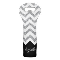 Black and Silver Glitter Print Chevrons and Name Wine Bag