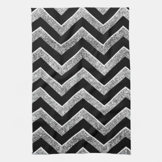 Black and silver glittery  chevron hand towel