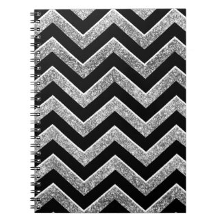 Black and silver glittery  chevron notebook