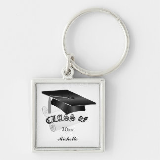 Black and Silver Graduation Keychain