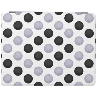 Black and Silver Gray Basketball Pattern iPad Cover