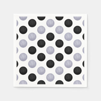 Black and Silver Gray Basketball Pattern Paper Napkin
