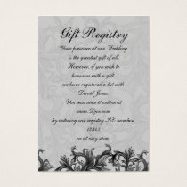 black and Silver Gray Flourish Wedding Business Card