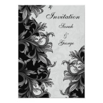 black and Silver Gray Flourish Wedding Card