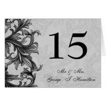 black and Silver Gray Flourish Wedding Card