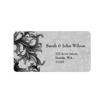 black and Silver Gray Flourish Wedding Label
