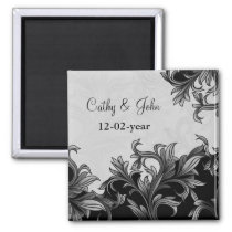 black and Silver Gray Flourish Wedding Magnet
