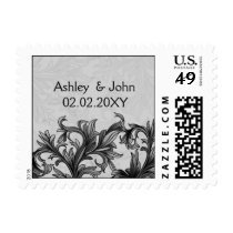 black and Silver Gray Flourish Wedding Postage