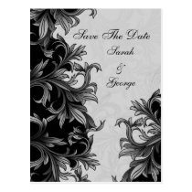black and Silver Gray Flourish Wedding Postcard