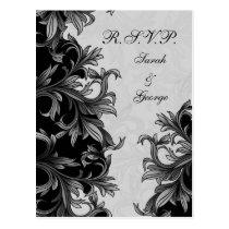 black and Silver Gray Flourish Wedding Postcard