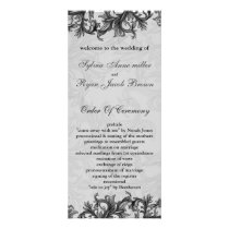 black and Silver Gray Flourish Wedding Rack Card