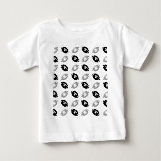 Black and Silver Gray Football Pattern Baby T-Shirt