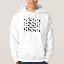 Black and Silver Gray Football Pattern Hoodie