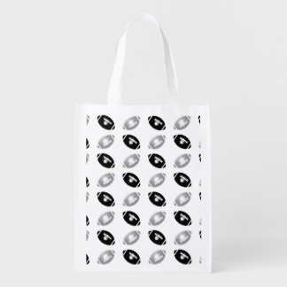 Black and Silver Gray Football Pattern Reusable Grocery Bag