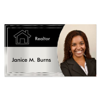 Black and Silver Gray Realtor Photo Design Business Card