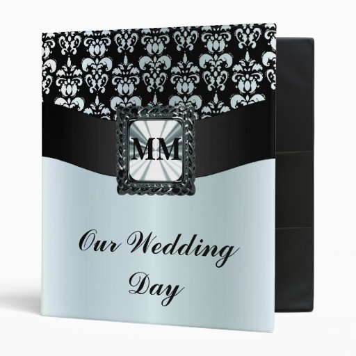 Black and silver grey damask 3 ring binder