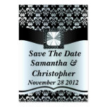 Black and silver grey damask business card
