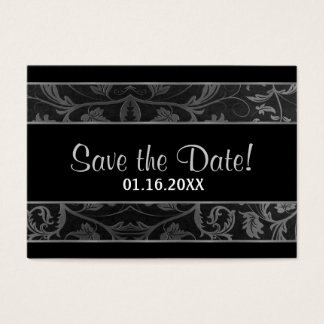 Black and Silver Grey Damask -  Save The Date Business Card