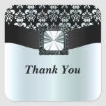 Black and silver grey damask square stickers