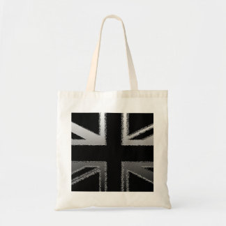 Black and Silver Grey Union Jack Flag Budget Tote Bag