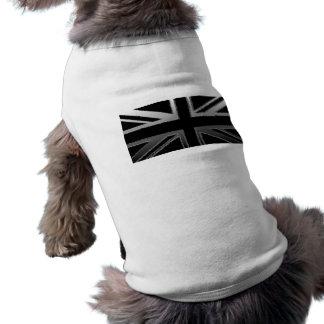 Black and Silver Grey Union Jack Flag Pet Shirt