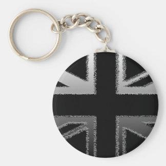 Black and Silver Grey Union jack Flag Keychain