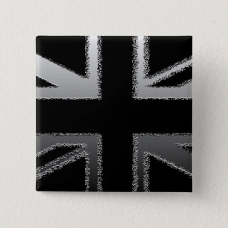 Black and Silver Grey Union Jack Flag Pinback Button