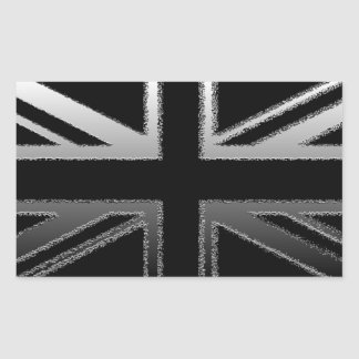 Black and Silver Grey Union jack Flag Rectangular Sticker