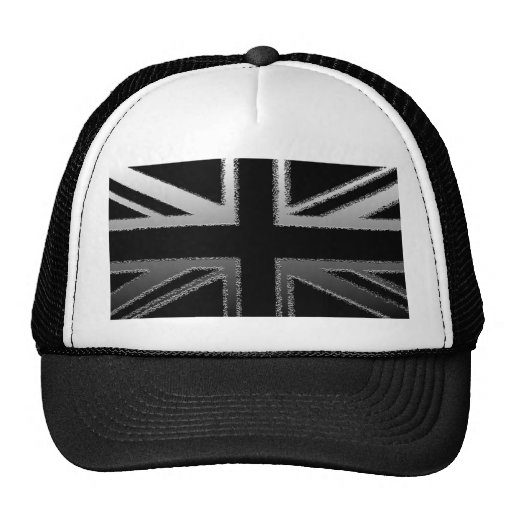 Black and Silver Grey Union Jack Flag Trucker Hat