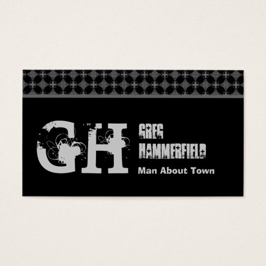 Black and Silver Grunge Style  For Him Template Business Card