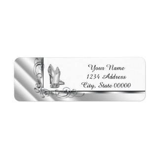Black and Silver High Heel Shoe Address Label