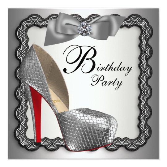 Black and Silver High Heel Shoe Birthday Party Card